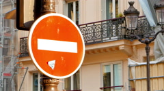 4K Do Not Enter Traffic Sign, Slow Dolly-In Zoom, Urban Setting Stock Footage