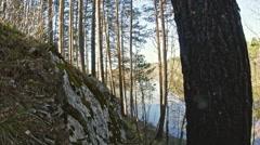 Wild Mountain river landscape of Chusovaya river in siberia, Ural, Russia Stock Footage