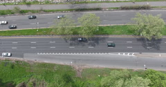 New York City West Side Highway Overhead Drift Stock Footage