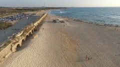 Caesarea - Aqueduct; Public Beach (North to South aerial)  Stock Footage