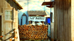 4K Cute Sign Stating Just Married, Wedding Couple, Country Side Home - stock footage