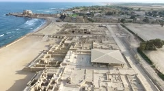 Caesarea - Byzantine st. of shops; Baths; Town walls and moat; Temple Augustus Stock Footage