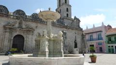 Basilica Menor de San Francisco de Asis Fountain Stock Footage
