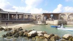Caesarea - Restaurants; Boats; Port Stock Footage