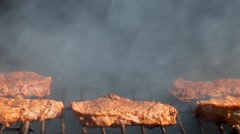 Beef stake barbecue - close-up Stock Footage