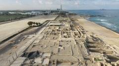 Caesarea - Temple Augustus; Mithraeum; Baths; Race Track - stock footage