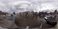360 video boat sail in canal, bridges, buildings, in Amsterdam, Holland Stock Footage