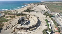 Caesarea -  Roman Ampitheatre; Racetrack; Town walls and moat;Citadel; Wareho Stock Footage