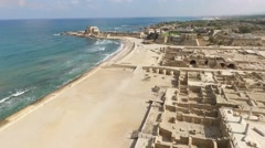 Caesarea- City walls and moat; Port Stock Footage