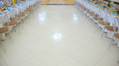 Wedding reception table set awaiting guests Stock Footage