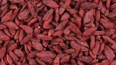 Dried red Goji Berries.  Close up Stock Footage
