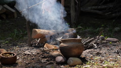 Native Americans - Cooking over fire Stock Footage