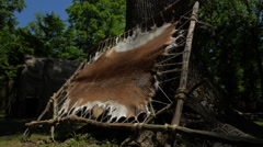 Native Americans - Deer Hide Pelt Stock Footage
