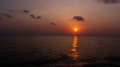 Tropical flat seas sunset Stock Footage