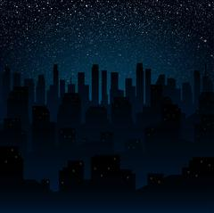 Starry night sky. Silhouette of the city. Eps 10. - stock illustration