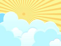 Vector clouds on blue background with sun rays. - stock illustration