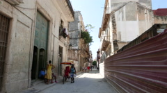 Havana Narrow Street Locals Cuba Stock Footage
