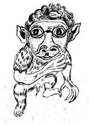Weird Monkey Sketch - stock illustration