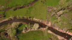 A gorgeous aerial shot above a river in green springtime Stock Footage