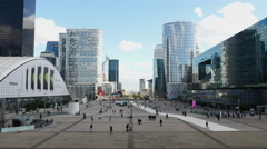 Time Lapse - People at La Defense Plaza - Daytime - Paris France Stock Footage