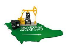 Oil Pump and Oil Barrels on Saudi Arabia Map Stock Illustration
