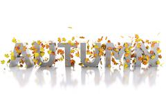 3d Word autumn decorated with leaves. - stock illustration