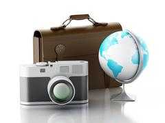 3d Old brown suitcase, camera and globe. - stock illustration