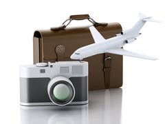 3d Old brown suitcase, camera and plane. - stock illustration