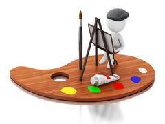 3d Artist painting on color palette. - stock illustration