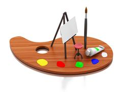 3d Easel painting and color palette. - stock illustration