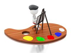 3d White people artist painting on color palette. Stock Illustration