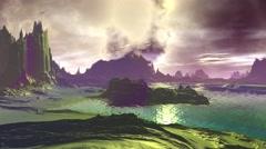 Fantasy alien planet. Rocks and lake. 3D illustration. 4K Stock Footage
