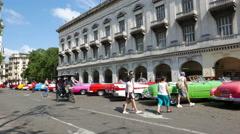 Classic Cars Parque Central Havana Cuba Stock Footage