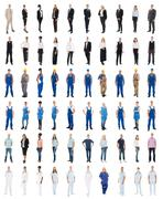 Set Of People With Various Occupations Standing Against White Background Kuvituskuvat