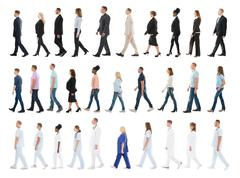 Collage Of People From Different Occupations Walking In Line Against White Ba Kuvituskuvat