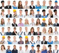 Set Of People With Different Professions In Row Against White Background - stock photo