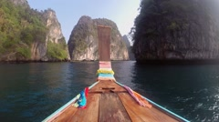 View From the Boats on the Lagoon at Phi Phi Islands in Thailand Stock Footage