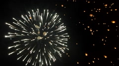 Fireworks and Floating Lanterns at Loy Krathong Festival, Chiang Mai, Thailand Stock Footage