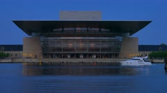 Copenhagen Opera House at Night, Copenhagen, Denmark, Europe Stock Footage