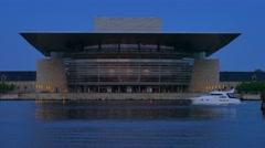 Copenhagen Opera House at Night, Copenhagen, Denmark, Europe Stock Footage