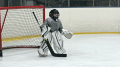 Beginner Goaltender Stock Footage