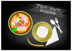 Thai Cuisine, Tom Yum Goong or Traditional Thai Spicy and Sour Soup with Praw - stock illustration