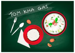 Thai Cuisine, Tom Kha Gai  or Thai Chicken Spicy and Sour in Coconut Milk wit Stock Illustration