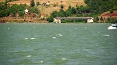 Ship at Danube river - stock footage