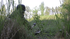 The Nazi soldier throws a grenade. World war II. The reconstruction - stock footage