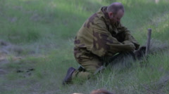 Soldiers lay explosives. World war II. The reconstruction of the battle - stock footage