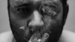Awful man smoking Stock Footage