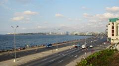 Havana Cuba Malecón Skyline Timelapse Stock Footage