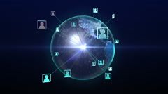 Rotating earth, expanding social network service, media, 3D rendering. Stock Footage