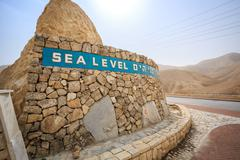 Sea level sign approaching Dead Sea, Israel Stock Photos